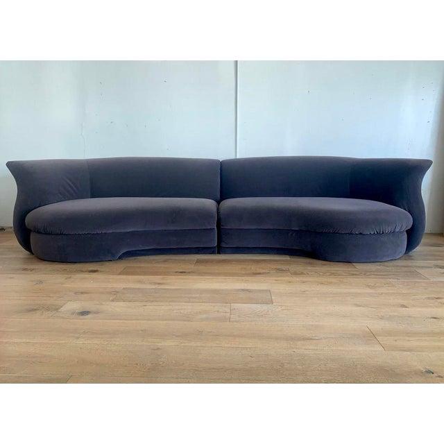 1990s Gray Velvet Postmodern Sectional Vladimir Kagan Style For Sale - Image 5 of 5