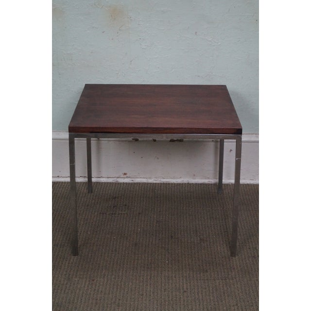Mid-Century Square Chrome Rosewood Side Table - Image 4 of 10