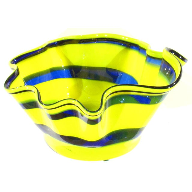 Black Pasargad N Y Multi Colored Handkerchief Shaped Blended Glaze Bowl For Sale - Image 8 of 8