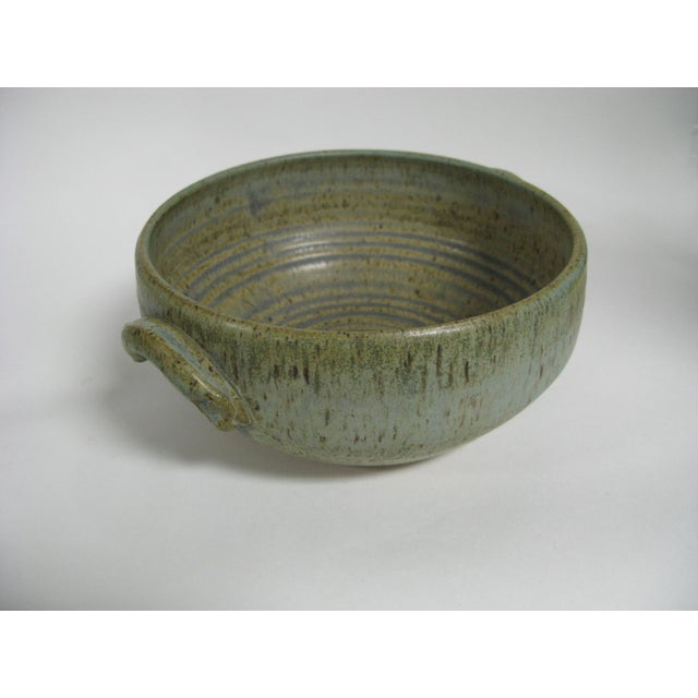 Green 1970s Mid Century Modern Studio Pottery Bowl For Sale - Image 8 of 13