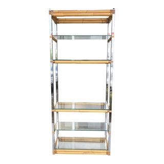 1970's Bamboo & Chrome Etagere For Sale