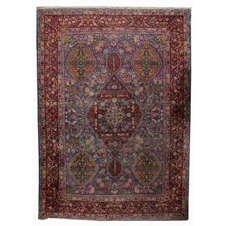 1910s Hand Made Antique Persian Yazd Rug - 9.8' X 13.5' For Sale
