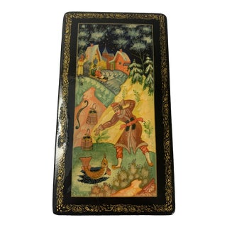 1981 Vintage Mstera Art Russian Ussr Wooden Lacquer Hand Painted Box, Signed For Sale