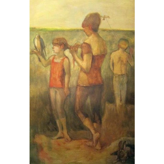 "Fry Oil Painting ""The Young Falconer"", Contemporary Yellow Figurative Scene For Sale"