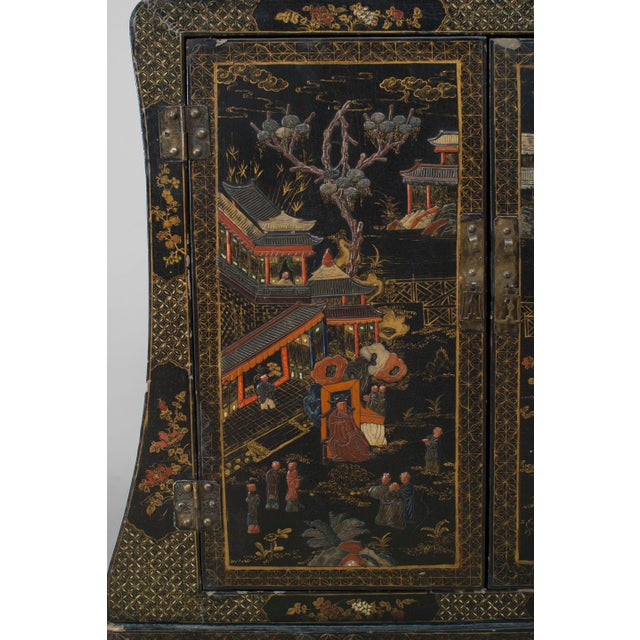 Asian Chinese Style Black Lacquered and Chinoiserie Decorated 2 Door Cabinet For Sale - Image 4 of 6