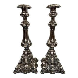 Vintage Large Silver Candlesticks - a Pair For Sale