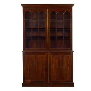 George III Style English Antique Rosewood Breakfront Bookcase Cabinet, 20th Century For Sale