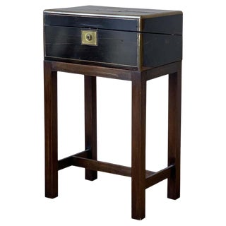 Brass Bound Writing Box on Stand For Sale