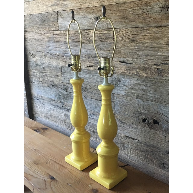 Vintage Yellow Table Lamps - A Pair - Image 3 of 11
