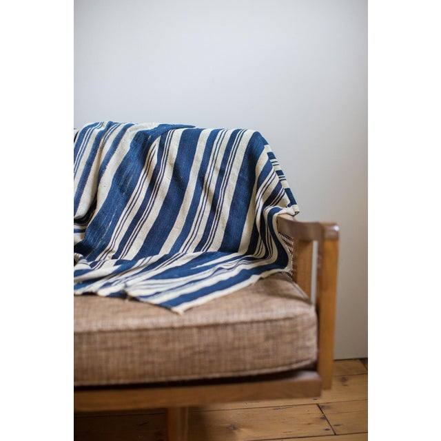 African Vintage Hand Woven Indigo Stripe Throw For Sale - Image 3 of 6