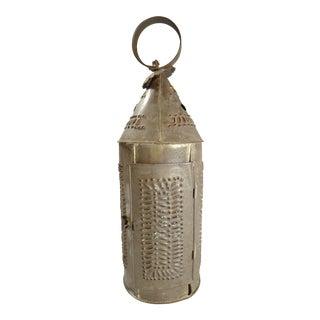 Antique Primitive 18th-Century Pierced Tin Lantern For Sale