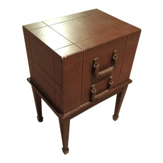 Brown Leather End Table