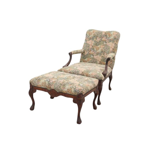 Louis XV Style Jungle Fauteuil and Ottoman - Image 1 of 9