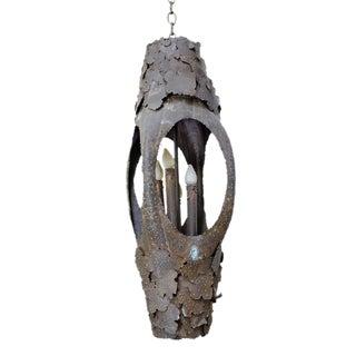 Tom Greene for Feldman Lighting Co. Brutalist Brass Pendant Light For Sale