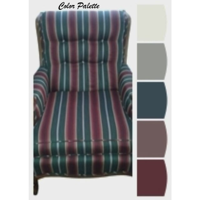 Striped French Provincial Arm Chair - Image 5 of 5
