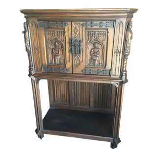 Antique Gothic Revival Cabinet Wine or Bar Linen Fold Carving For Sale