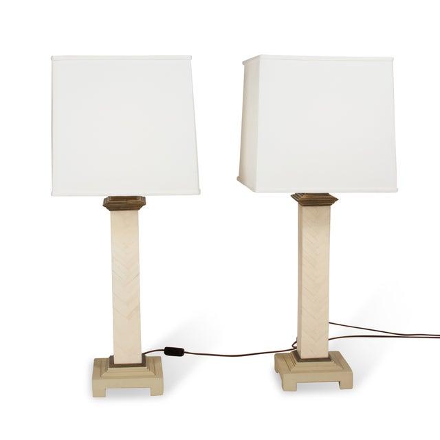 Maitland-Smith Chevron Column Lamps - A Pair - Image 2 of 8