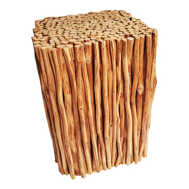 Boho Chic Wood Sticks Bundle Square Accent Table For Sale