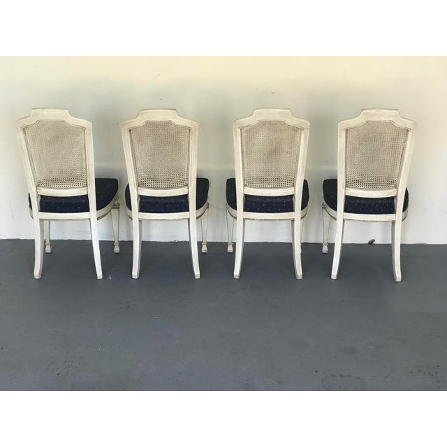 1970s Vintage Drexel Siena Furniture Italian Neoclassical Cane Back Dining Chairs- Set of 4 For Sale - Image 9 of 13