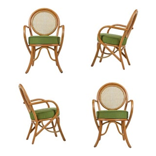 Paul Frankl Style Cane Back Rattan Armchairs Set For Sale