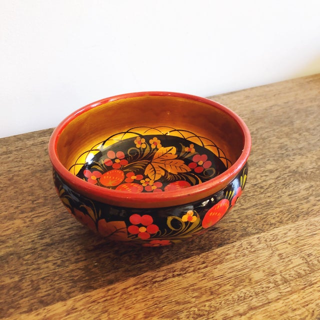 Russian Lacquerware Painted Bowl For Sale In Austin - Image 6 of 8