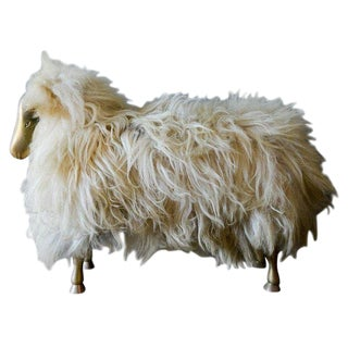 1970s Country Claude and Francois-Xavier Lalanne Style Sheep Ottoman For Sale