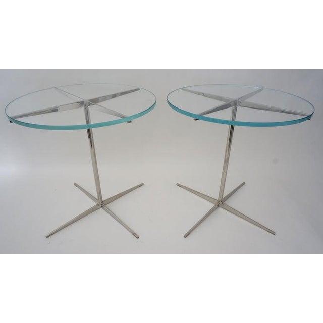 Metal Vintage Drinks or Side Tables Glass on Polished Steel Pedestal - a Pair For Sale - Image 7 of 12