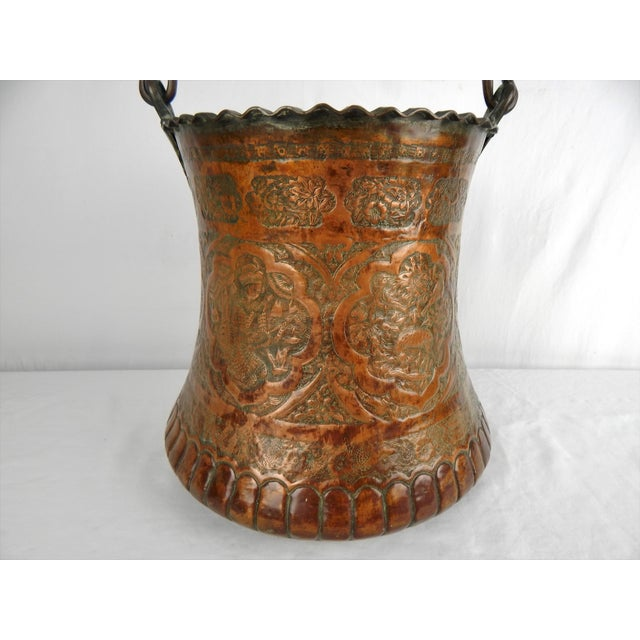 Large Moorish Copper & Pewter Pail For Sale - Image 4 of 10