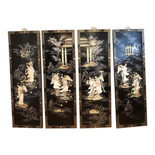Asian Black Lacquered Panels With Mother of Pearl - Set of 4 For Sale