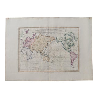 1821 Antique Faden Chart of the World & Captian Cook's Discoveries Map For Sale