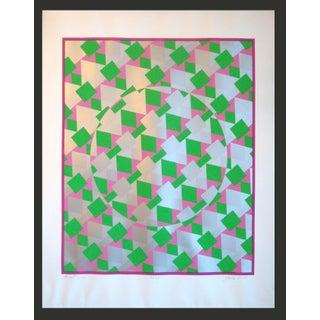 Large Modernist Op Art Silver Metallic Silkscreen Poster to Frame For Sale