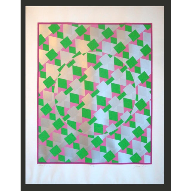 Large Op Art Silver Metallic Silkscreen Poster - Image 5 of 5