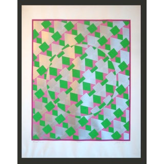 Large Op Art Silver Metallic Silkscreen Poster Modernist Like Vasarely For Sale