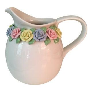 1960s Americana Rose Rimmed White Porcelain Pitcher