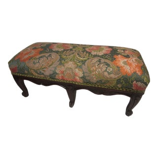 Antique French Footstool With French Brocade Fabric For Sale