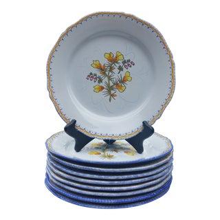 Vintage Mid-Century Henriot Quimper Plates - Set of 9 For Sale