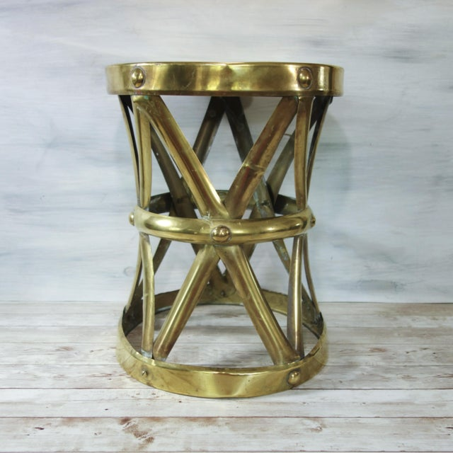 Gold 1970's Vintage Brass X Base Garden Stool For Sale - Image 8 of 8