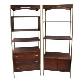 Danish Modern Walnut Bookcases - A Pair