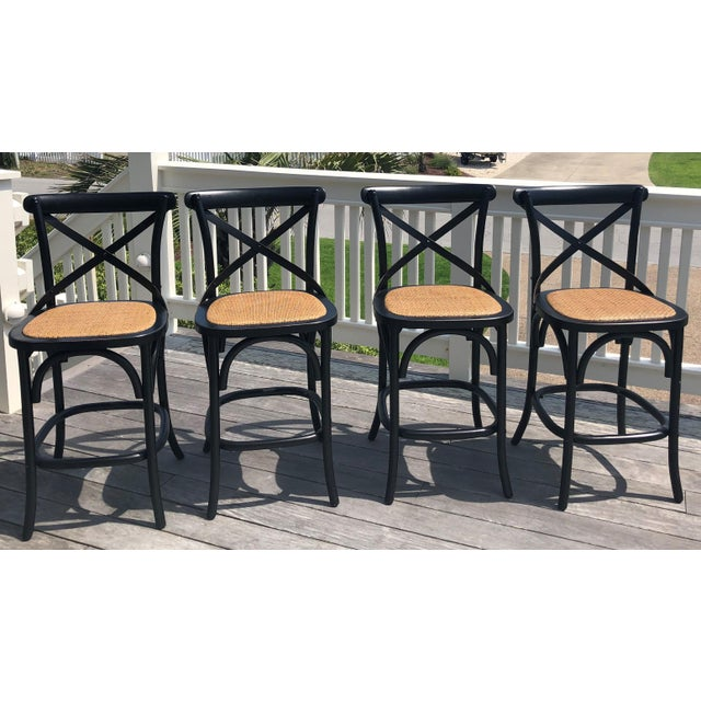 Furniture Classics Black and Rattan Bentwood Counter Stools - Set of 4 For Sale - Image 4 of 4