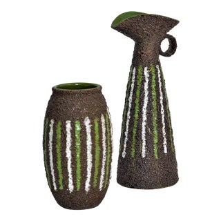 Large Vintage Italian Fat Lava Glaze Ceramic Vase and Ewer -- Mid Century Modern MCM Boho Chic Cottage Brutalist Tropical