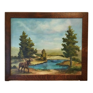 Oil on Canvas of a Moose on a Sky Blue Lake For Sale