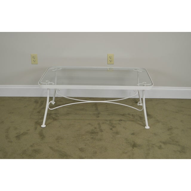 White Woodard for Crown Leisure White Wrought Iron Glass Top Patio Coffee Table For Sale - Image 8 of 13