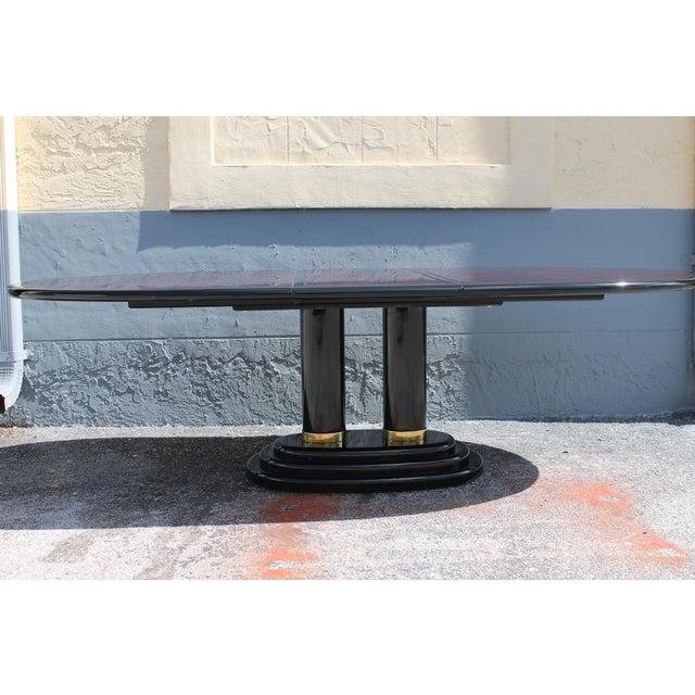 Henredon Art Deco Black Lacquered amp Burlwood Dining Table