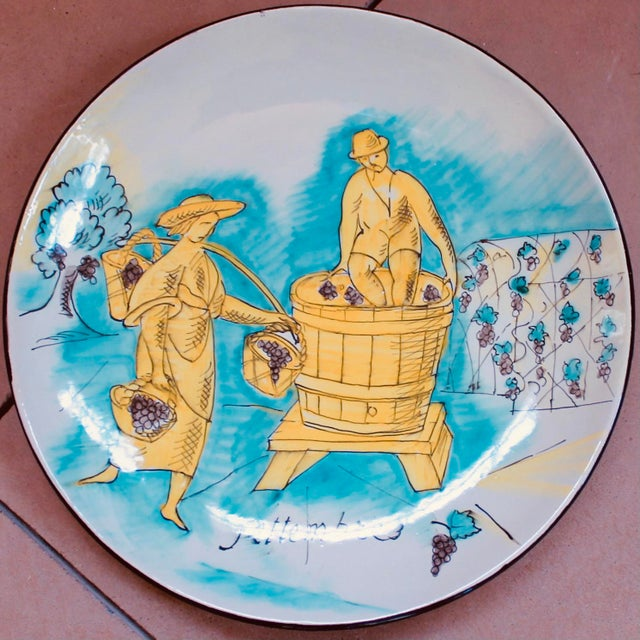 Bright Green Set of 12 Italian Maiolica Dinner Plates, Painted With Country Life Scenes For Sale - Image 8 of 13