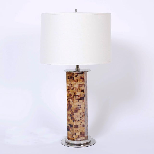 Dashing pair of midcentury table lamps featuring Horn veneer mosaic bodies and finished with Classic nickel plated metal...