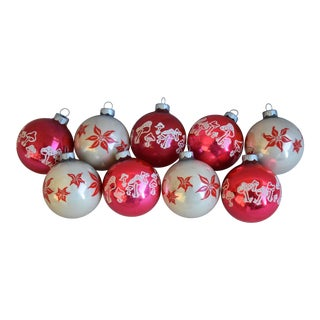 Vintage Colorful Christmas Ornaments W/Box - Set of 9 For Sale