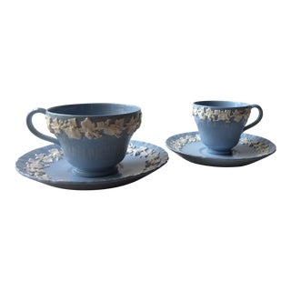 Wedgwood Blue Queensware Embossed Cups and Saucers with Ruffled Rim - a Pair For Sale
