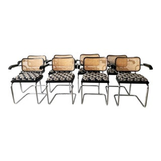 1970s Vintage Marcel Breuer for Knoll Upholstered Cesca Arm Chairs- Set of 8 For Sale