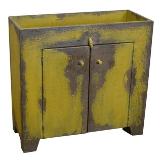 Primitive Distressed Painted Country Small Dry Sink Cabinet For Sale
