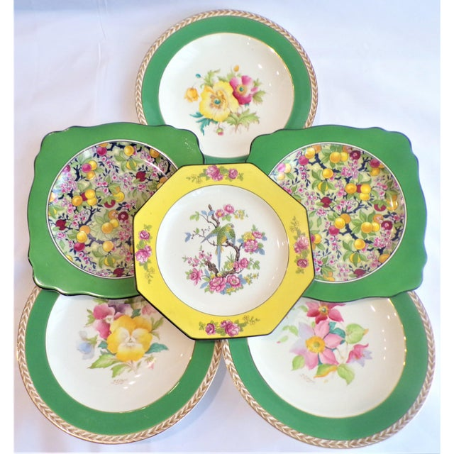 Art Deco (Final Markdown) 930's Crown Ducal Ware Chintz Plates - Set of 6 For Sale - Image 3 of 13